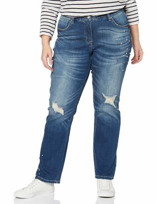 Ulla Popken Women's Jeanshose Destroy Mit Perlen Und Strass Mandy Straight Jeans