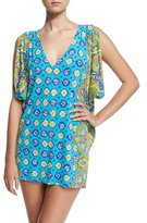 Trina Turk Corsica Printed Caftan Coverup, Turquoise