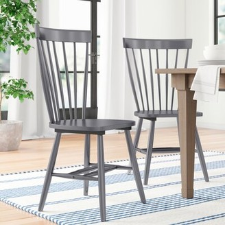 Three Posts Spindle Solid Wood Windsor Back Side Chair Color: Charcoal