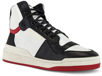Saint Laurent SL24 High Top Sneaker in Optic White & Black & Eros Red | FWRD
