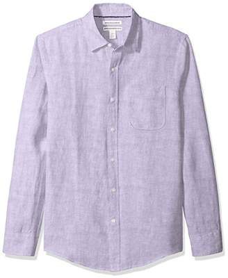 Amazon Essentials Slim-fit Long-sleeve Linen Shirt Button,Medium (size:):)
