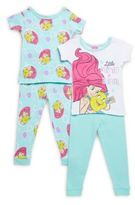 AME Sleepwear Baby's Little Mermaid Four-Piece Tee & Pajama Pants Set
