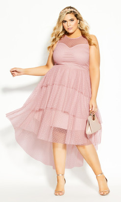 City Chic Mesh Bardot Maxi Dress - pink