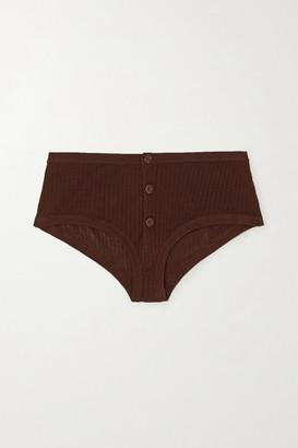 Dodo Bar Or Kelly Ribbed Silk Briefs - Dark brown