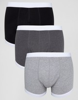 Asos Trunks In Monochrome With Contrast Binding 3 Pack SAVE