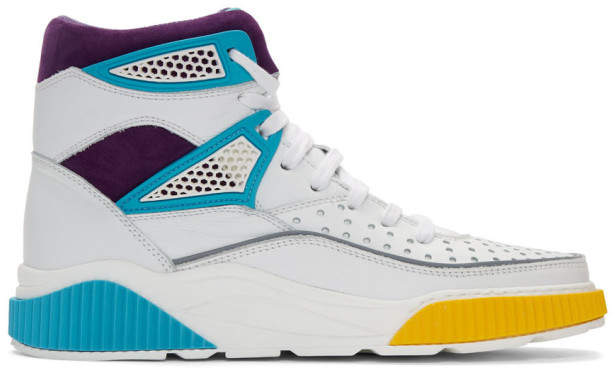 Balmain White and Multicolor Kery High-Top Sneakers
