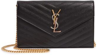 Saint Laurent Monogram Pebbled Leather Wallet on a Chain