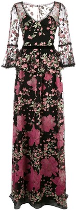 Marchesa Embroidered Floral Gown