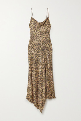 Alice + Olivia Alice Olivia - Harmony Draped Leopard-print Satin-twill And Voile Dress - Leopard print