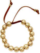Lauren Ralph Lauren Gold-Tone Beaded Leather Cord Bracelet
