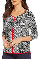 Bobeau V-Neck 3/4 Sleeve Shirttail Hem Printed Top