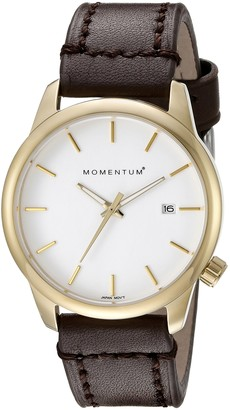 Momentum Womens Quartz Watch Logic 36 by IP Gold Stainless Steel Watches for Women Sports Watch with Japanese Movement & Analog Display Water Resistant Women's Watch with Date White/Brown Leather