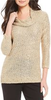 Investments 3/4 Sleeve Sequin Cowl Sweater