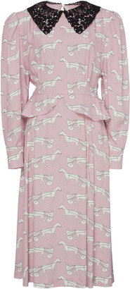 Miu Miu Printed Collared Midi Dress
