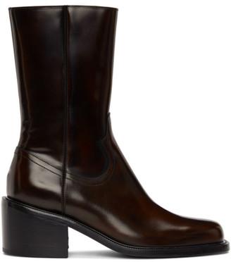 Dries Van Noten Brown Leather Zip-Up Boots
