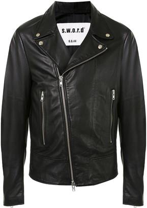 S.W.O.R.D 6.6.44 Zipped Leather Biker Jacket