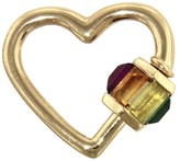 Marla Aaron Baby Total Baguette Sapphire & Ruby Heart Lock - Yellow Gold