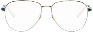 Gucci Silver and Green Pilot Glasses