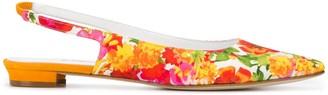 Manolo Blahnik Floral Print Slingback Ballerinas
