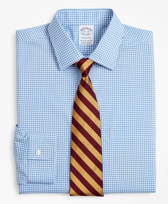 Brooks Brothers Stretch Regent Fitted Dress Shirt, Non-Iron Poplin Ainsley Collar Gingham