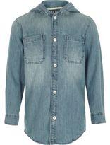 River Island Boys blue long sleeve hooded denim shirt