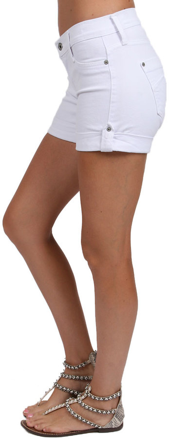 James Jeans Vicky Cuffed Safari Short in Frost White