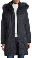 Post Card Hooded Fur-Trim Parka, Navy
