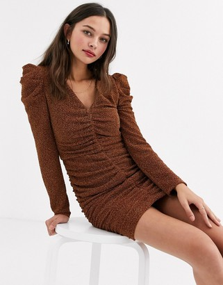 Moon River ruched sparkle mini dress-Brown