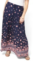 Evans Plus Size Women's Border Print Maxi Skirt