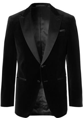 HUGO BOSS Black Helward Slim-Fit Satin-Trimmed Cotton-Velvet Tuxedo Jacket