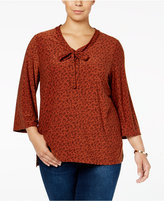 Style&Co. Style & Co. Plus Size Paisley-Print V-Neck Top, Only at Macy's