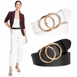 Balteus 2 Pack Women Black Belts for Dress Jeans Leopard Brown Leather Belt with Gold Buckle Double O Ring - white - Medium