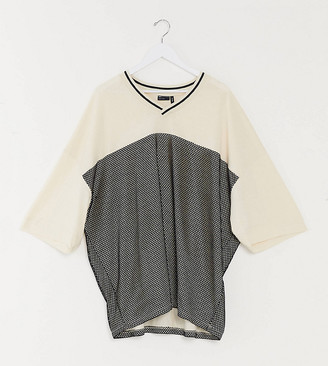 ASOS DESIGN Plus oversized t-shirt with half sleeve with mesh and baseball neck