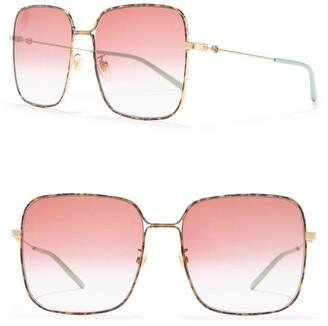 Gucci 61mm Square Wire Sunglasses