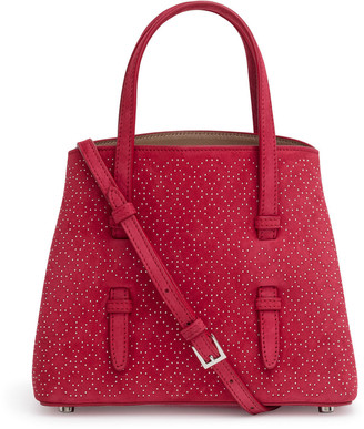 Alaia Red suede studded mini tote bag