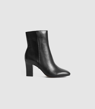 Reiss RUBY LEATHER ANKLE BOOTS Black