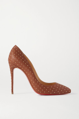 Christian Louboutin Pigalle Follies 100 Studded Leather Pumps - Brown