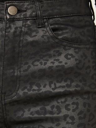 Quiz Stretch PU Coat Animal Print One Button Skinny Jeans - Black