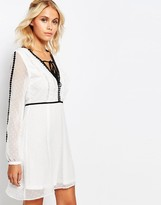 Fashion Union Smock V Neck Dress With Sheer Sleeves And Contrast Trimmings