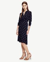 Ann Taylor Double Dot Long Sleeve Shirtdress