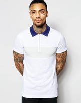 Diesel Polo T-Leonardo Slim Fit Pique Chest Panel and Contrast Collar in White