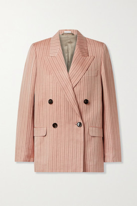 Acne Studios Double-breasted Pinstriped Linen-blend Twill Blazer - Antique rose