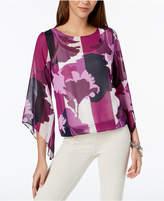 Alfani Petite Floral-Print Angel-Sleeve Top, Created for Macy's