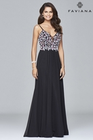 Faviana s7951 Long fit and flare dress with beaded bodice