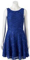 Speechless Juniors' Sequin Lace Skater Dress