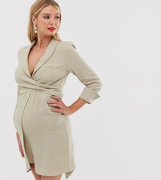 ASOS DESIGN Maternity mini tux dress in linen