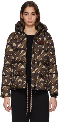Burberry SSENSE Exclusive Brown Monogram Puffer Down Leith Jacket