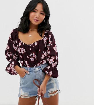 Vero Moda Petite button thru floral boho blouse