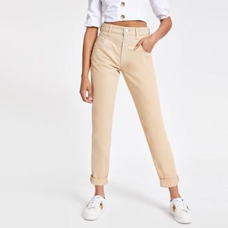 River Island Womens Beige Mom high rise jeans
