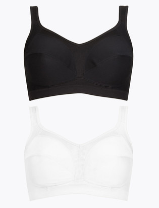 Marks and Spencer 2pk High Impact Non-Wired Sports Bras A-GG
